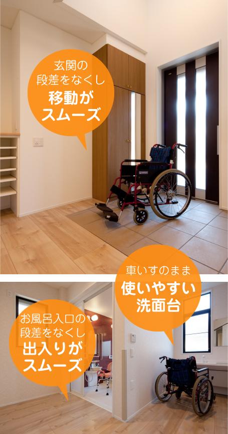 玄関やお風呂の段差をなくし移動が スムーズ車いすのまま 使いやすい 洗面台